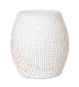 Large Outdoor Wicker Ottoman Pouf in White