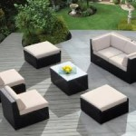 Ohana Outdoor Patio Wicker Furniture 7pc All Weather Gorgeous Couch Set with BEIGE CUSHION